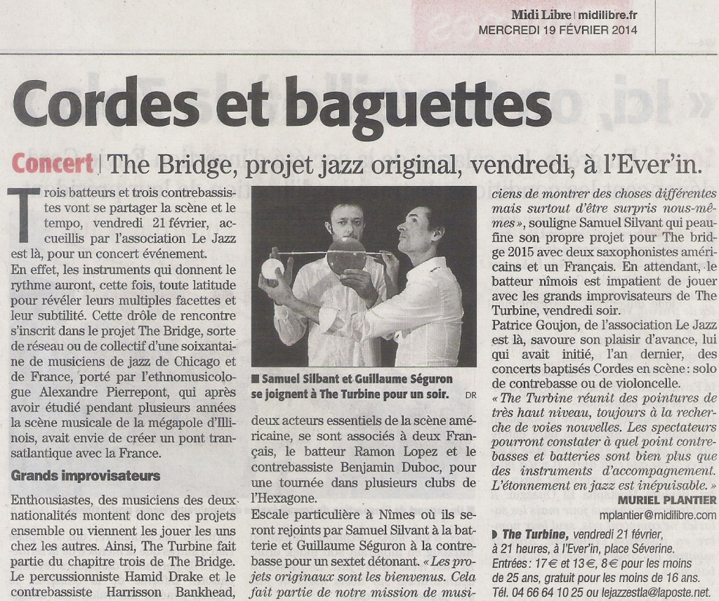 Article sur The Turbine dans Midi Libre (1)