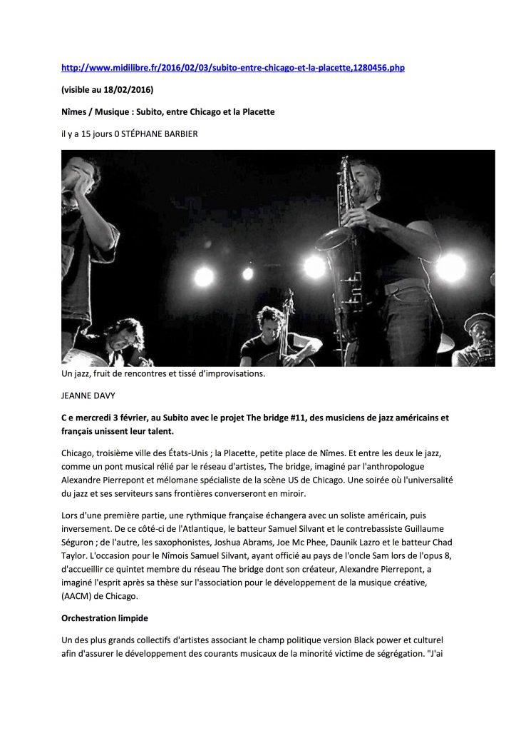 Article ( Page Web ) Midi Libre 03 02 2016
